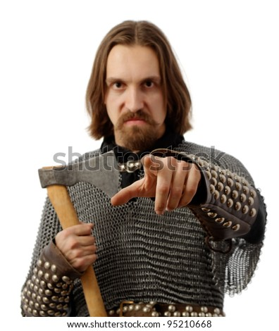 angry warrior with axe pointing at you, over white
