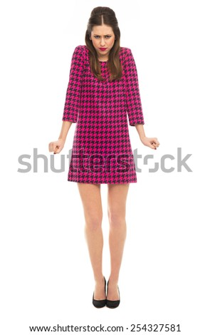 Angry woman clenching fists - stock photo