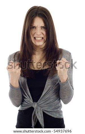 Angry woman clenching her fists isolated on white - stock photo