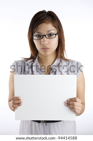 Angry woman holding a sign - stock photo