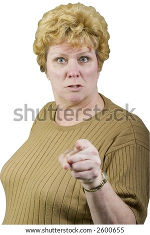 angry woman pointing isolated on white with path - stock photo