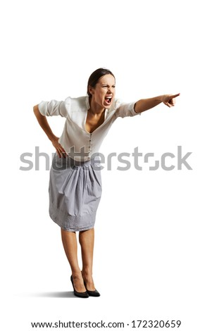 angry woman screaming and pointing at something. isolated on white background - stock photo