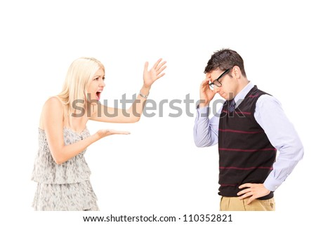 Angry woman shouting at a man, isolated on white background - stock photo