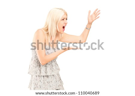 Angry woman shouting isolated against white background - stock photo