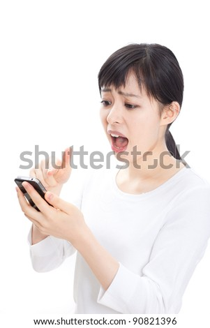 Angry woman shouting to mobile phone, Isolated on white background - stock photo