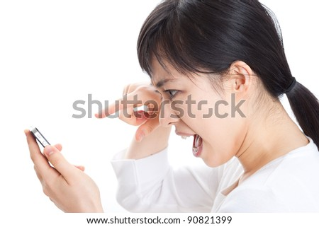 Angry woman shouting to mobile phone, Isolated on white background