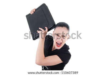 Angry woman with leather briefcase - stock photo