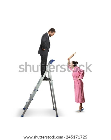 angry woman with rolling pin screaming at serious man on the stepladder. isolated on white background - stock photo