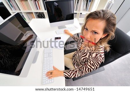 angry woman working at the office