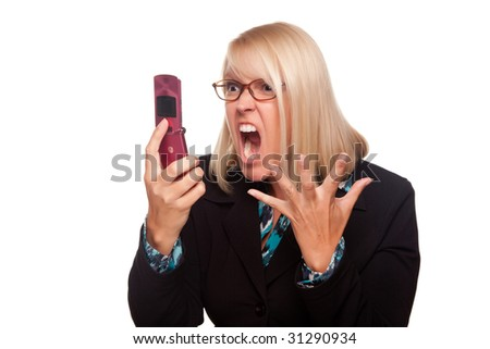 Angry Woman Yells At Cell Phone Isolated on a White Background. - stock photo