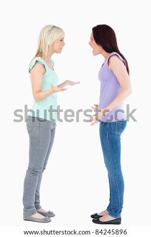Angry women arguing in a studio