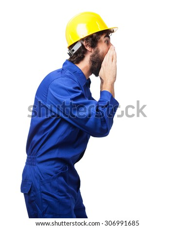 angry worker man shouting - stock photo