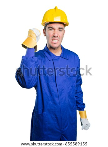 Angry workman on white background