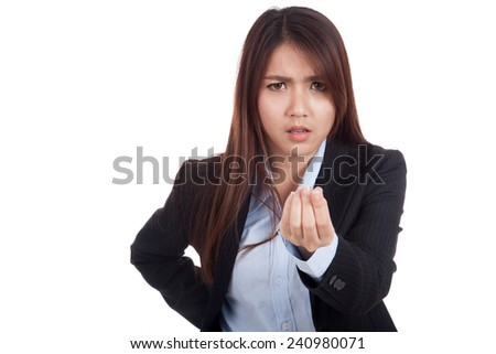 Angry young Asian businesswoman ask for money  isolated on white background - stock photo