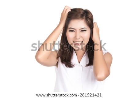 Angry young asian woman with blank copyspace area for text,frustrated,screaming,Portrait of beautiful Asian woman,Thai girl,Negative human emotion facial expression,isolated on white background - stock photo