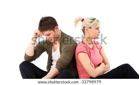 Angry young boy and girl over white background - stock photo