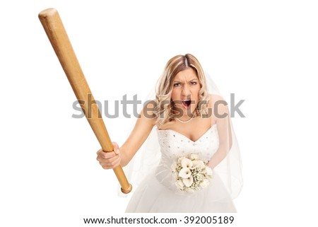 Angry young bride holding a baseball bat and yelling isolated on white background - stock photo