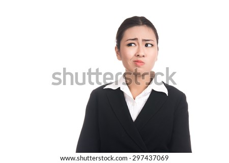 Angry young business asian woman with blank copy space,Thai girl,isolated on white background - stock photo