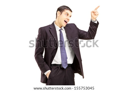Angry young businessman arguing isolated on white background