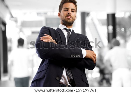 angry young businessman in a company