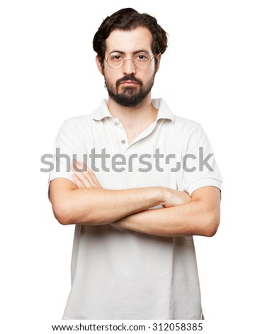 angry young man cross arms