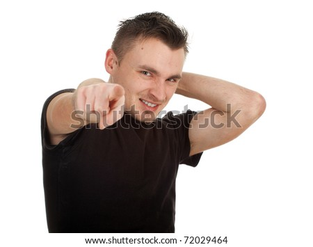 angry young man in black casual shirt, pointing you