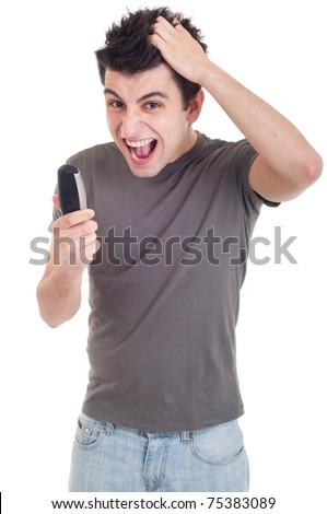angry young man yelling at mobile phone isolated on white background - stock photo