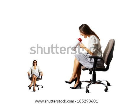 angry young woman and smiley calm woman on the chair over white background - stock photo