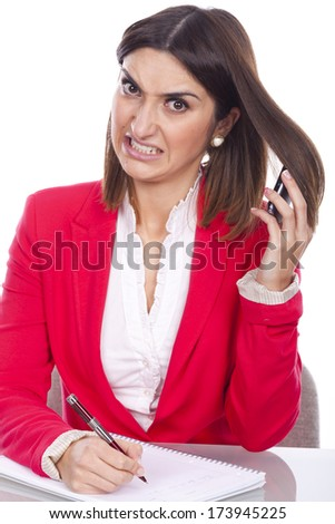 angry young woman at work - stock photo