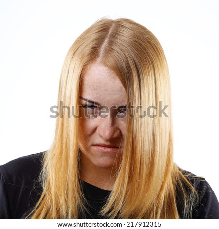 Angry Young Woman Portrait. - stock photo