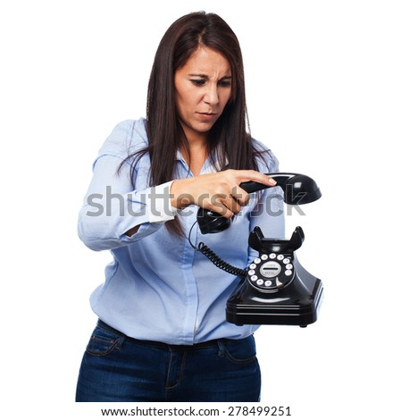 angry young-woman with telephone