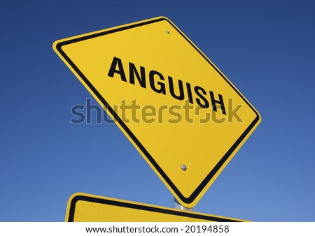 Anguish Yellow Road Sign against a Deep Blue Sky