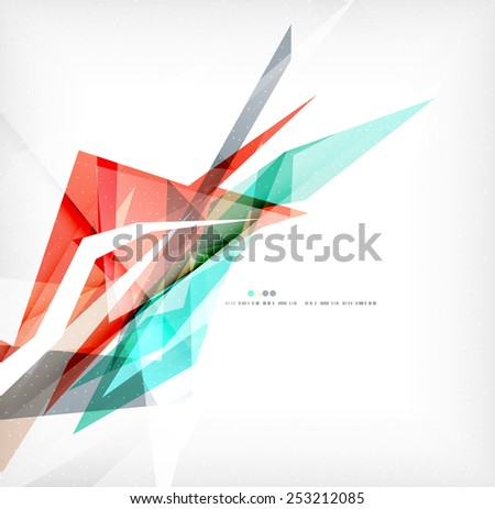 Angular geometric color shapes, abstract background, flyer or brochure template - stock photo