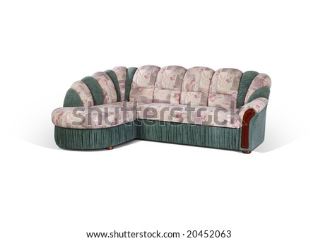 angular sofa by wooden insertions on a white background - stock photo
