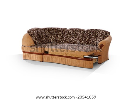 angular sofa, decomposed in a bed on a white background - stock photo