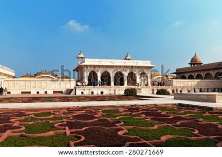 Anguri bagh and Khas Mahal in Red Agra Fort. Agra, Uttar Pradesh, India - stock photo