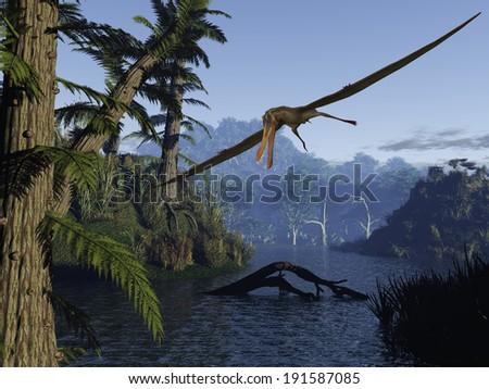 Anhanguera - 3D Dinosaur - stock photo