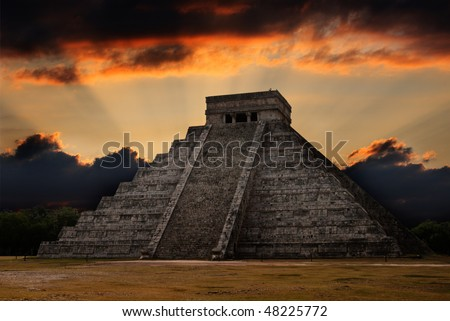 Anicent mayan pyramid in Chichen-Itza, Mexico - stock photo