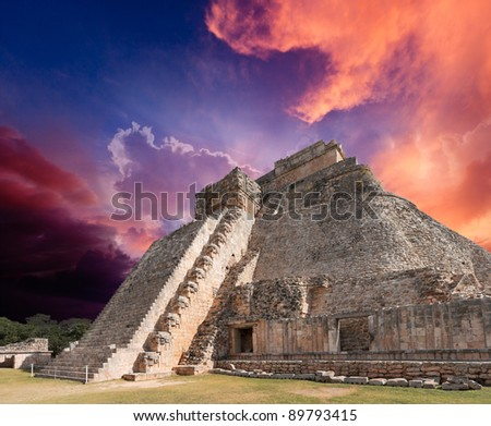 Anicent mayan pyramid in Uxmal, Mexico - stock photo