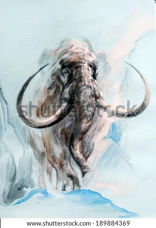 Animal - a ghost. Disappeared mammoth, as if emerging from a distant ice age, beyond time and space. Graphic image in cold tones. - stock photo