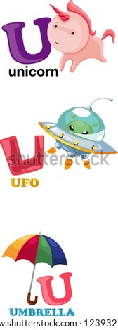 Animal alphabet letter - U.JPG (EPS vector version id 116832388,format also available in my portfolio) - stock photo