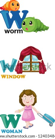 Animal alphabet letter - W .JPG (EPS vector version id 124035439,format also available in my portfolio) - stock photo