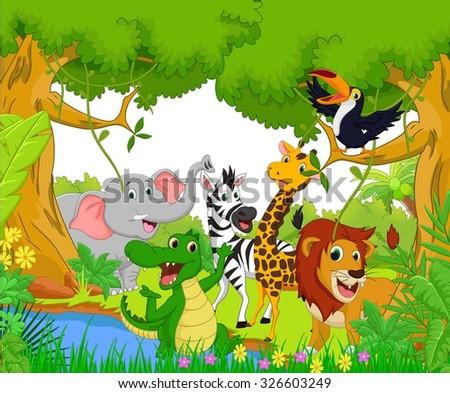Animal cartoon in the jungle - stock photo