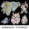 animal drawing set - stock vector