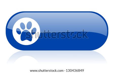 animal footprint blue web glossy icon - stock photo
