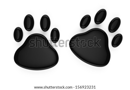 animal footprints symbol isolated on white background. 3d rendered image