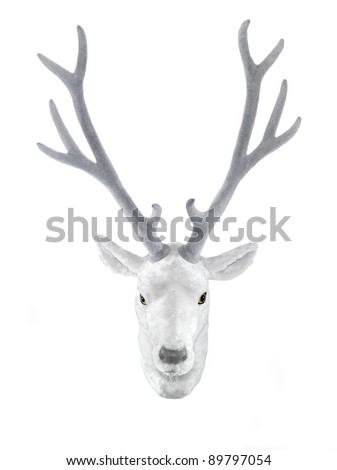 animal friendly hunting trophy, white deer head mounted on the wall, isolated on white - stock photo