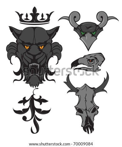 Animal heads and skulls with crown and ornament. Raster version. Vector version is also available. - stock photo