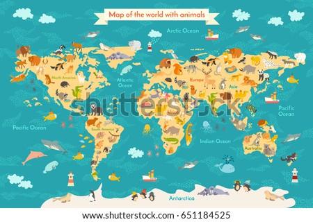 Animals World Map Australia Australian Animals Stock Vector - Australia on world map