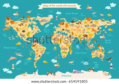 Map animal kid continent world animated vectores en stock 599815109 animal map for kid world poster for children cute illustrated preschool cartoon globe gumiabroncs Gallery